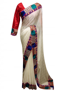 Cream Saree - 7006