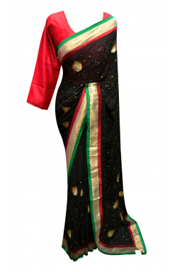 Black  Saree - 7155