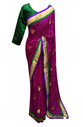 Red Violet  Saree - 7158
