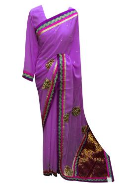 Lilac Chiffon Saree - 7009
