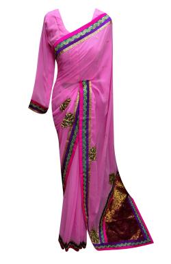 Pink Chiffon Saree - 7009