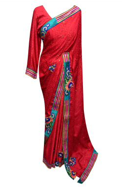 Red Chiffon Saree - 7010