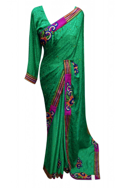 Jade Chiffon Saree - 7010