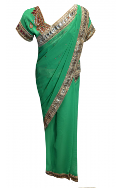 Sea Green Saree - 1211
