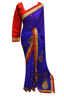 Blue Border Saree - 7217