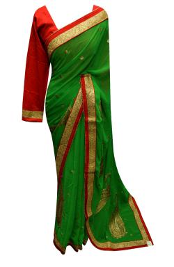 Green Border Saree - 7218