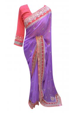 Lilac Border Saree - 7233