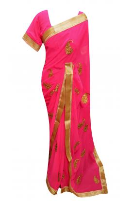 Chiffon Pink Saree - 7133