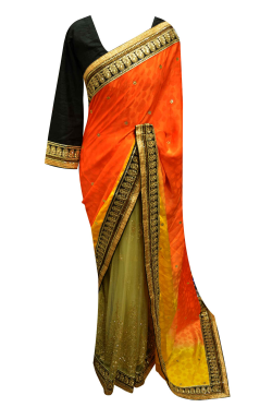 Orange Contrast Saree - 7243