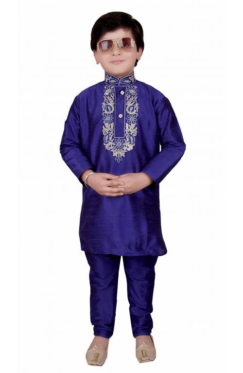 b27769a2e Boys Indian Pakistani Blue kurta with pajama in Raw Silk for EID ...
