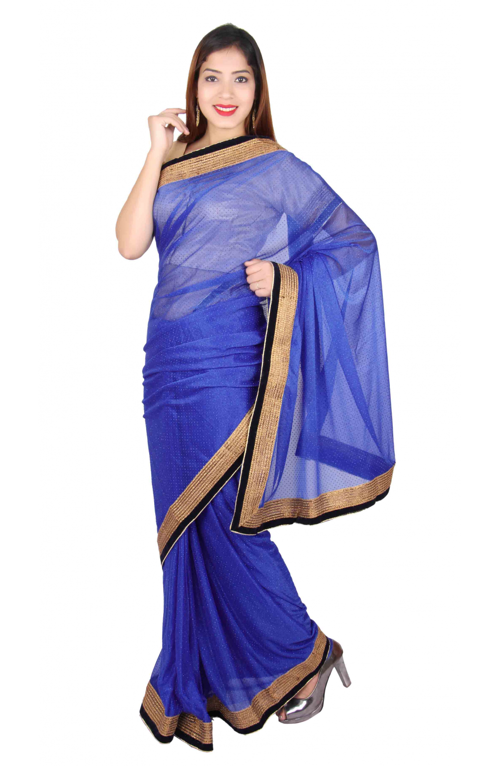71a8821a535b05 Buy Online Indian Blue Saree for Bollywood theme Party wear with ...