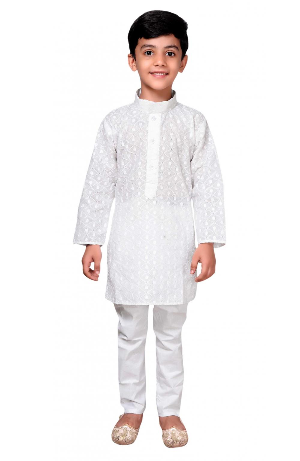04e1ff9ab Boys Indian White Cotton Sherwani Kurta Churidar Salwar Kameez for ...